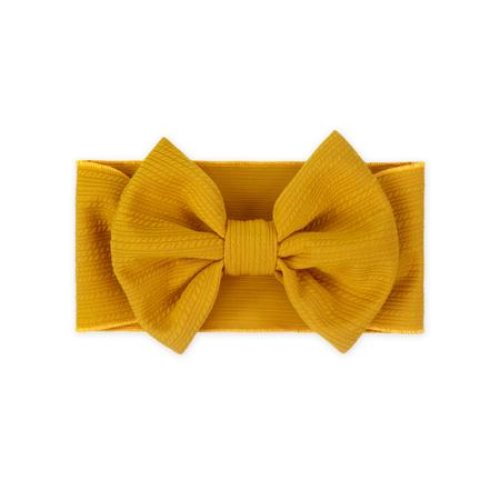 Slika za Široka elastična traka za kosu sa mašnicom Žuta