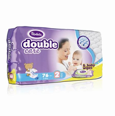 Slika za Violeta® Pelene AirCare 2 Mini (3-6kg) Jumbo 76 + Poklon Baby vlažne maramice