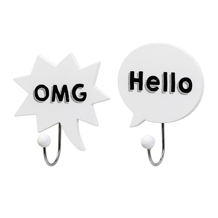 Slika za Bloomingville® Dva bela obešalnika OMG, Hello