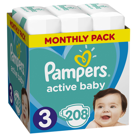 Slika za Pampers® Pleničke Active Baby MP Dry vel. 3 (6-10 kg) 208 kosov