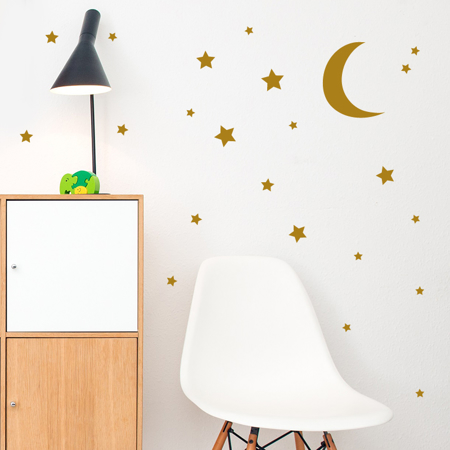 Slika za Pick Art Design® Stenske nalepke Luna z zvezdicami Zlata