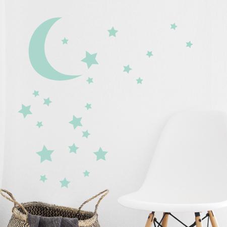 Slika za Pick Art Design® Stenske nalepke Luna z zvezdicami Mint