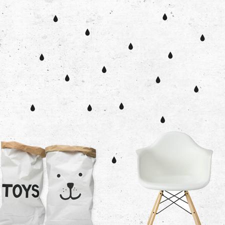 Slika za Pick Art Design® Stenske nalepke Dežne kapljice Črna