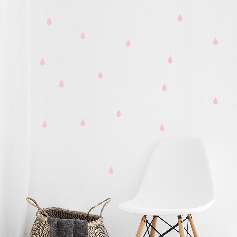 Slika za Pick Art Design® Zidne naljepnice Kapljice kiše Pastelno ružičaste