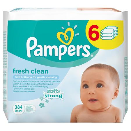 Slika za Pampers® Otroški vlažilni robčki Baby Fresh Clean Promo pack 6x64 kosov
