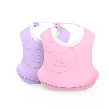 Slika za Twistshake® Dva podbradnjaka Pastel Pink & Purple (4+m)