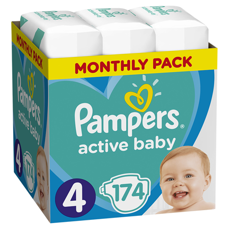 Slika za Pampers® Pleničke Active Baby Dry MP vel. 4 (9-14 kg) 174 kosov