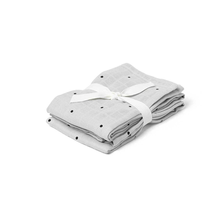 Slika za Liewood® Set dveh muslin pleničk Hannah Classic Dot Dumbo Grey 70x70