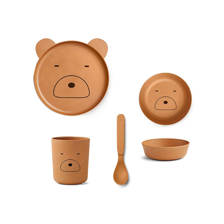 Slika za Liewood® Set za jelo iz bambusovih vlakana Mr Bear Mustard