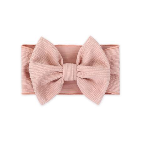 Slika za Široka elastična traka za kosu sa mašnicom Ružičasta