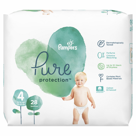 Slika za Pampers® Pleničke Pampers Pure Protection vel. 4 (9-14 kg) 28 kosov