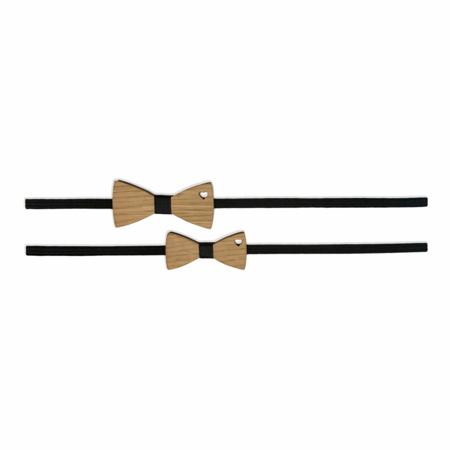 Slika za Komplet elastičnih trakov z lesenim metuljčkom Črna
