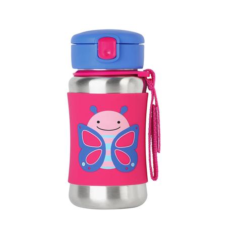 Slika za Skip Hop®  Steklenička iz nerjavečega jekla s slamico Metuljček
