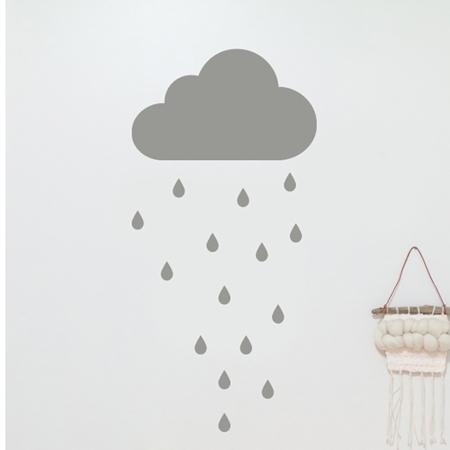 Slika za Pick Art Design® Stenska nalepka Siv oblaček in dežne kapljice