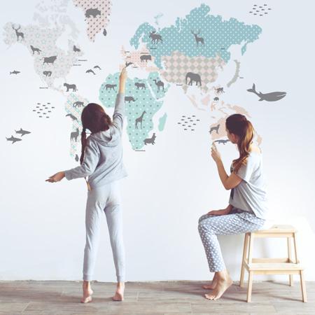 Slika za Dekornik® Stenska nalepka Zemljevid Sveta Pastel
