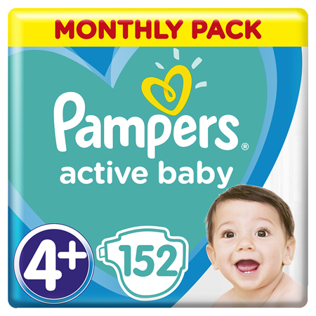 Pampers® Pelene Active Baby Dry MP vel. 4+ (10-15 kg) 152 komada