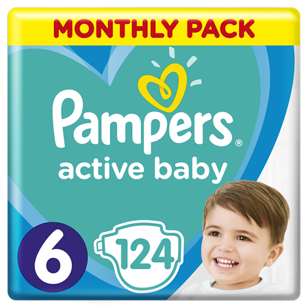 Slika za Pampers® Pleničke Active Baby Dry MP vel. 6 (13-18 kg) 124 kosov