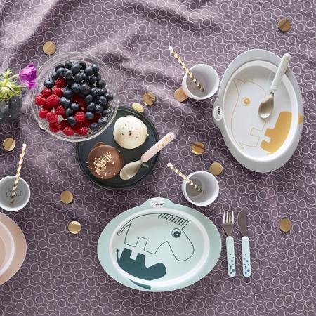 Done by Deer® Komplet pribor za jelo Happy Dots White