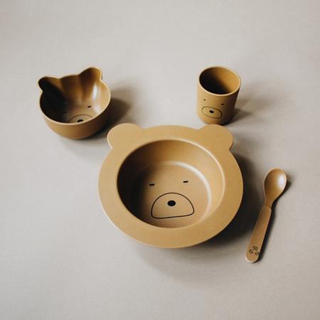 Liewood® Set za jelo iz bambusovih vlakana Baby Mr Bear Mustard
