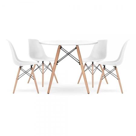Slika za EM Furniture Set stolića i četiri stolice White