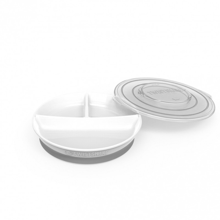 Twistshake® Podijeljeni tanjurić 210ml+2x90ml (6+m) - White