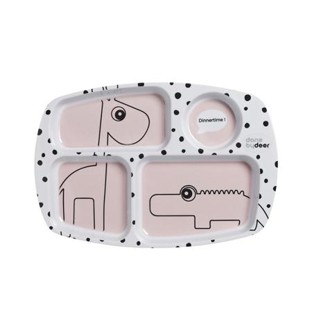 Done by Deer® Deljeni Krožnik Happy Dots - Svijetlo ružičasti