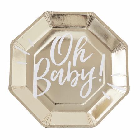 Ginger Ray® Zlatni papirnati tanjuri Oh Baby! 8 komada