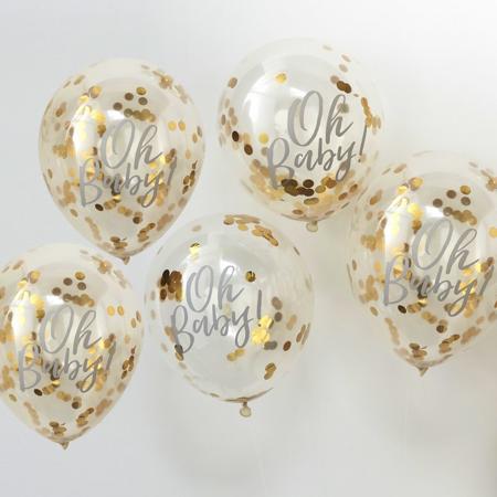 Slika za Ginger Ray® Baloni s konfetima Oh Baby! 5 komada
