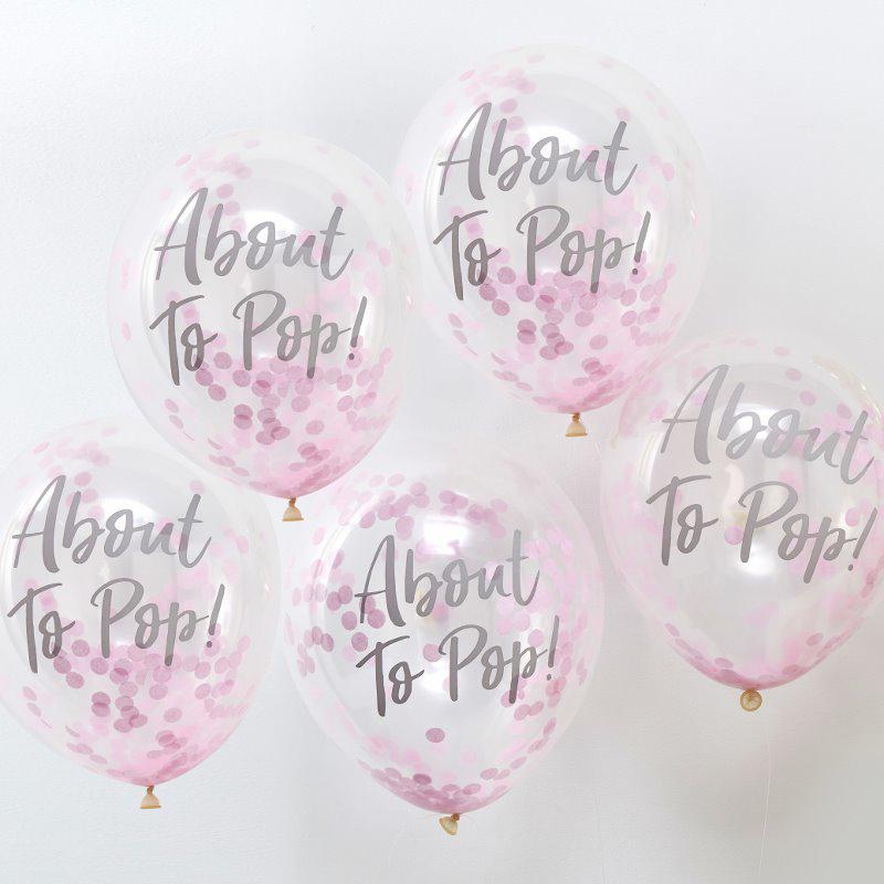 Slika za Ginger Ray® Baloni s konfetima About To Pop Pink 5 komada