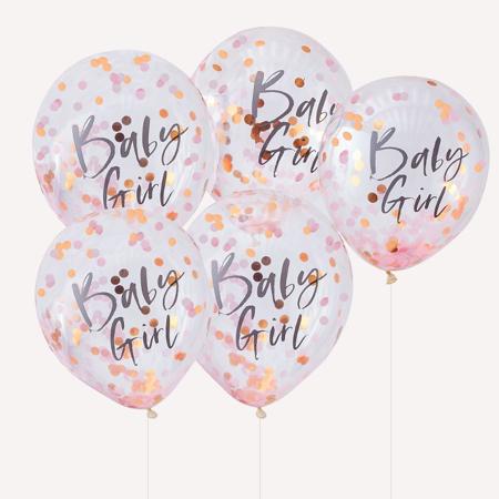 Slika za Ginger Ray® Baloni s konfetima Baby Girl Twinkle Twinkle 5 kosov