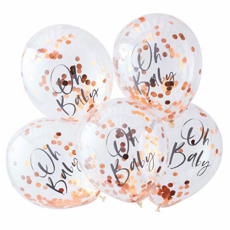 Slika za Ginger Ray® Baloni s konfetima Rose Gold Oh Baby! 5 komada