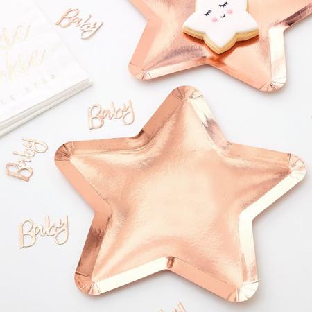 Slika za Ginger Ray® Rose Gold papirnati tanjuri Twinkle Twinkle 8 komada