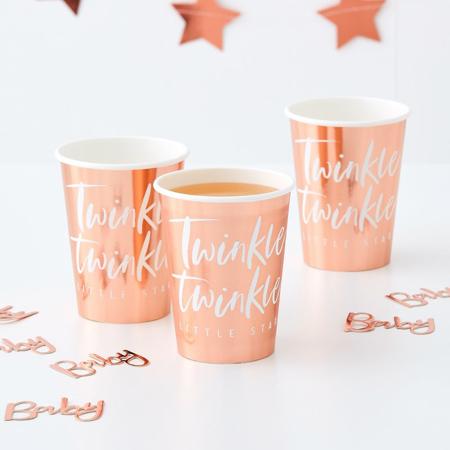 Slika za Ginger Ray® Rose Gold papirnate čašice Twinkle Twinkle 8 komada