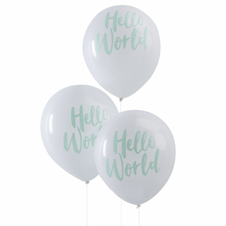 Ginger Ray® Baloni Hello World Mint 10 komada