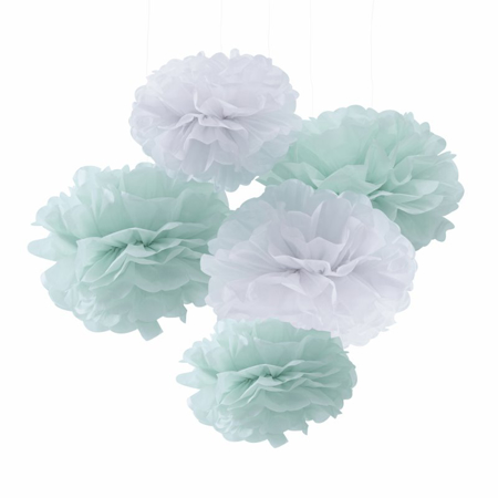 Ginger Ray® Pom Pom lampion Mint 5 komada