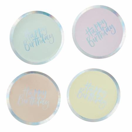 Ginger Ray® Pastelni papirnati tanjuri Pastel Party 8 komada