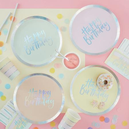 Slika za Ginger Ray® Pastelni papirnati tanjuri Pastel Party 8 komada
