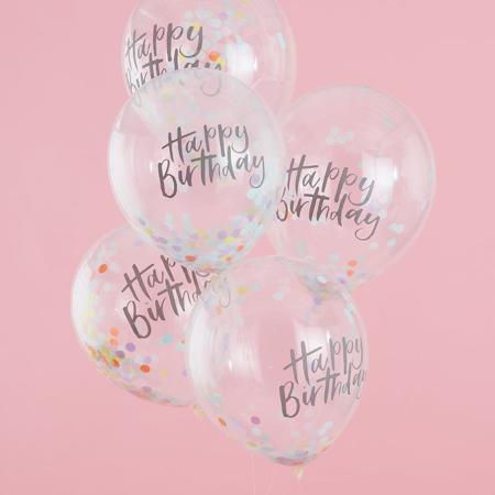 Slika za Ginger Ray® Happy Birthday Baloni s konfetima 5 komada