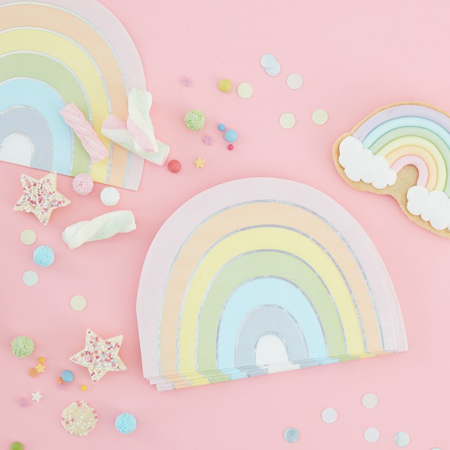 Slika za Ginger Ray® Rainbow papirnate salvete Pastel Party 16 komada