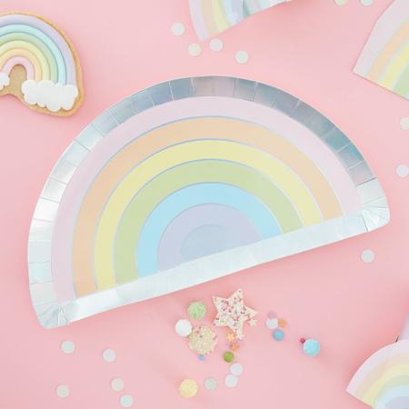 Slika za Ginger Ray® Rainbow papirnati tanjuri Pastel Party 8 komada