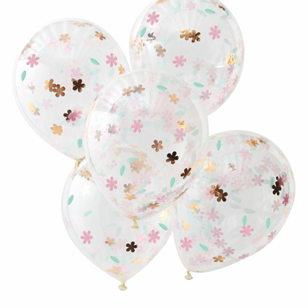 Ginger Ray® Baloni s konfetima Ditsy Floral 5 komada