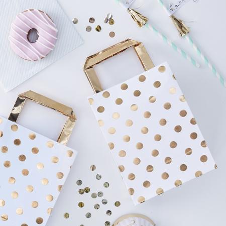 Slika za Ginger Ray® Poklon vrećice Gold Polka Dot 5 komada