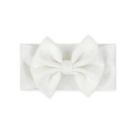 Široka elastična traka za kosu sa mašnicom Bijela