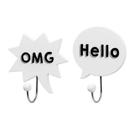Slika za Bloomingville® Dvije bijele vješalice OMG, Hello