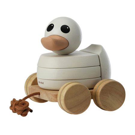 Slika za Hevea® Kawan lesena račka na vrvici s kolesi