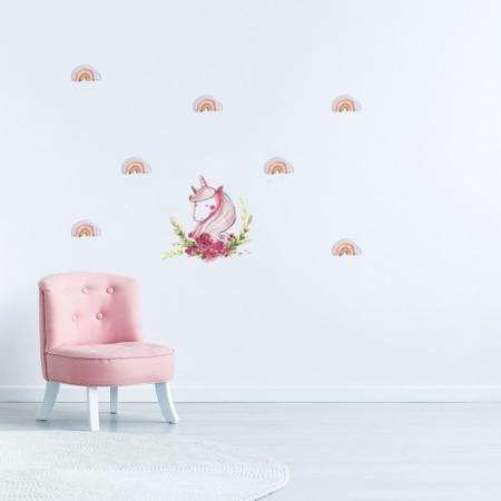 Slika za Pick Art Design® Stenske nalepke Samorog z mavricami manjši
