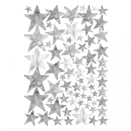 Slika za Pick Art Design® Stenske nalepke Watercolor Zvezdice Sive