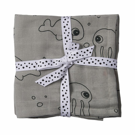 Slika za Done by Deer® Komplet pelena za previjanje - Sea friends Grey 70x70