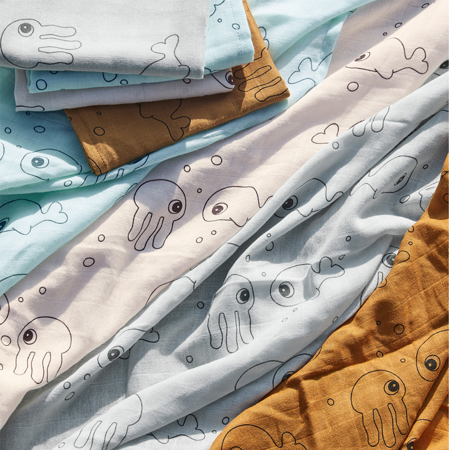 Slika za Done by Deer® Komplet tetra pelena Sea friends Mustard 70x70