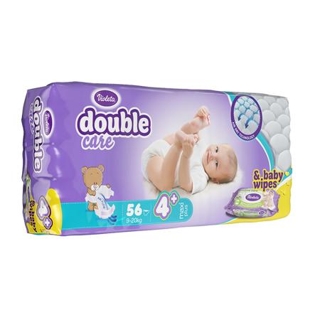 Slika za Violeta® Pelene AirCare 4 Maxi plus (9-20kg) Jumbo 56 + Poklon Baby vlažne maramice